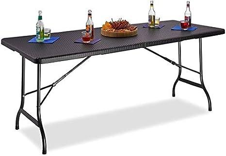 Tavoli Da Giardino Pieghevoli Plastica.Maxx Tavolo Da Giardino In Plastica Pieghevole Tavolo Da Giardino Pieghevole Nero Effetto Rattan 180 X 75 X 74 Cm