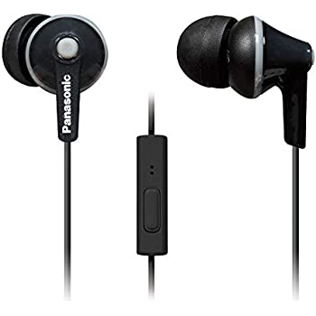 PANASONIC ErgoFit Earbud Headphones with Microphone and Call Controller Compatible with iPhone, Android and Blackberry - RP-TCM125-K - In-Ear (Black), Earpads S/M/L