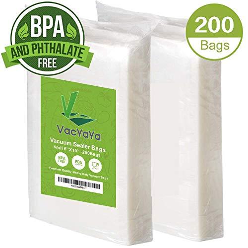 4mil 200 Pint 6 x 10 Inch Size Vacuum Sealer Storage Bags for Food Saver,PreCut Heavy Duty Vacuum Seal a Meal Food Saver Bag