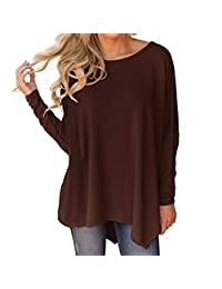 Realdo Women Ladies Long Sleeve O-Neck Pure Color Irregular Hem Blouse Tops