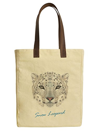Leopard Printed Leather Tote (Snow Leopard Portrait Beige Printed Canvas Tote Bags Leather Handles WAS_30)