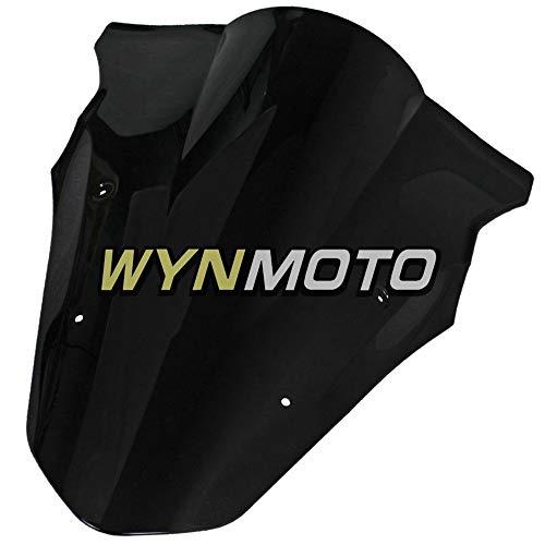 Windscreen 650r Ninja (WYNMOTO Motorbike Windshield Fit for Kawsaki ER-6F Ninja 650r 2012 2013 2014 2015 2016 Double Bubble Windscreens Black)