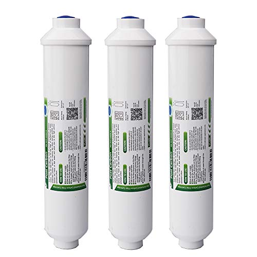 "(T33 Inline Post Carbon Water Filter, Membrane Solutions Coconut Activated Carbon Water Filter Replacement Cartridge 5 Micron 10"" x2"", 3-Pack)"