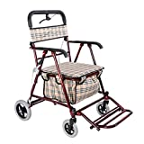 Milisome World Folding Shopping Cart for The Elderly, Four-Wheeled Walker Can Push or Sit, Old Man Trolley (Color : Wine red)