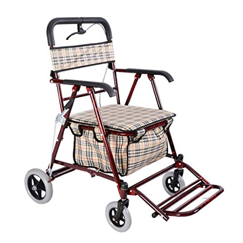 Milisome World Folding Shopping Cart for The Elderly, Four-Wheeled Walker Can Push or Sit, Old Man Trolley (Color : Wine red) by Milisome World (Image #7)