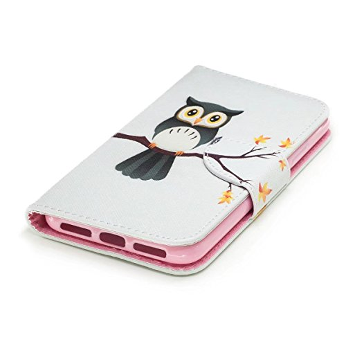 LEMORRY Apple iPhone X Custodia Sbalzato Pelle Cuoio Flip Portafoglio Borsa Sottile Protettivo Magnetico Chiusura Morbido Silicone TPU Cover Custodia per Apple iPhone X, Cute Owl