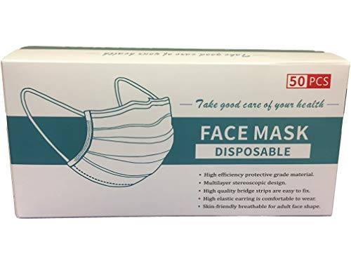 50 DISPOSABLE PROTECTION FACE MASKS WITH EAR LOOPS