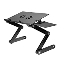 Ohuhu Adjustable Vented Laptop Table Computer Desk Portable Bed Tray Book Stand Multifuctional & Ergonomics Design Dual Layer Tabletop With Cooling Fun(Black)