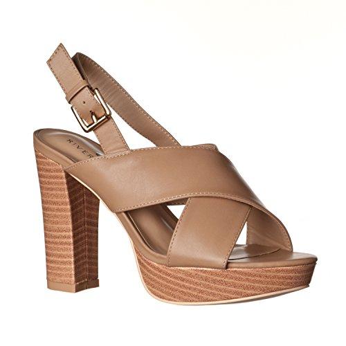 - Riverberry Women's Maya Chunky, High Heel Platform Sandals, Taupe PU, 7