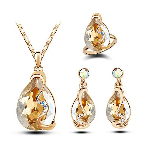 Crystal Earrings Necklace Ring Three-Piece Set - Starlight Gold - Champagne Starlight