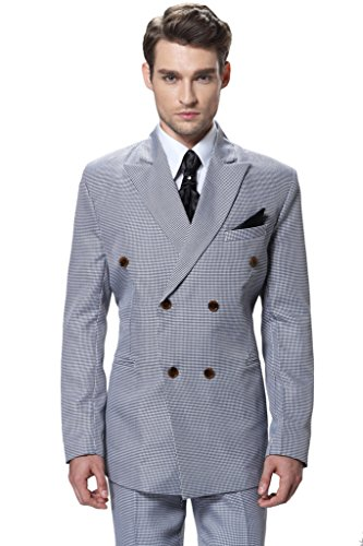 White Leisure Suit (CMDC Men's Double-breasted Houndstooth Leisure Suit Jacket 2 Piece D293?White 40R?)