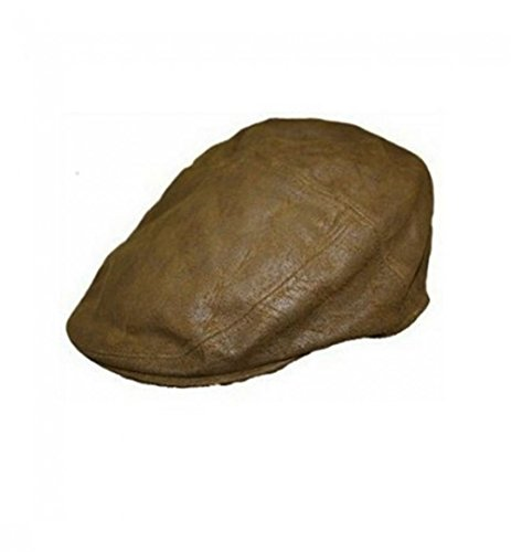Gents Genuine BROWN Suede Soft Leather Flat Cap English Granddad Hat Classic Cap
