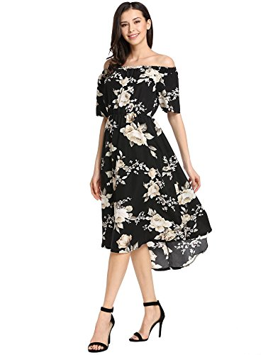 Short Shoulder Off Print Casual Black Pleated Low Dresses Sleeve Floral Women cindere Elastic High Cocktail nxtq1IXwT