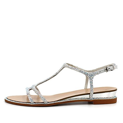 de densa párrafo diamantes verano de sandalias mujeres tela Plata con amp; zapatos puntos de del tela zapatillas de para del casual imitación TMKOO planos vzFnqO