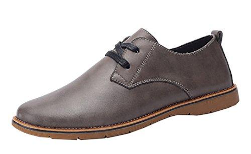 Leather Comfortable slip Fiber Up Casual Dress Grey Shoes Super Men's Non Fashion TDA Lace British tFBxw8