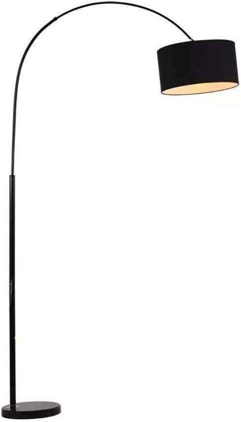 FWZJ Lámpara de pie LED Moderna Lámpara de pie Curvada clásica Pantalla de Tela Negra Lámparas de pie con Base de mármol para el Dormitorio de la Sala de Estar (Color: Negro, Tamaño: Control Remo