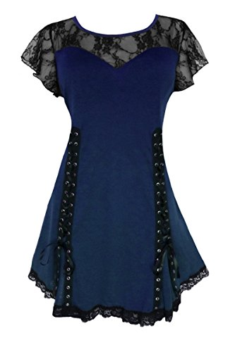 Steampunk Witch (Dare To Wear Victorian Gothic Boho Women's Plus Size Roxanne Corset Top Midnight 1x)