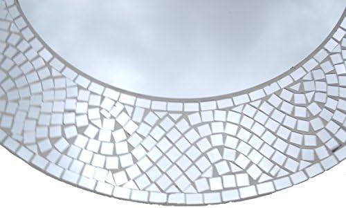 LuLu Decor, Silvershine Mosaic Wall Mirror, Decorative Round Wall Mirror, Diameter 23.5 , Inside Mirror 15 , Perfect for Housewarming Gift LP303