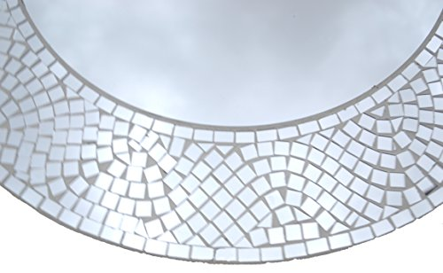 "Lulu Decor, Silvershine Mosaic Wall Mirror, Decorative Round Wall Mirror, Diameter 23.5"", Inside Mirror 15"", Perfect for Housewarming Gift (LP303)"