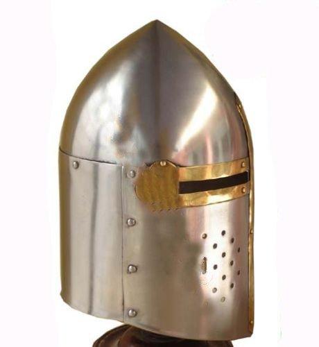 Medieval-Sugarloaf Crusader Helmet 18g Knight's Helm Sugar Loaf + Leather Liner,
