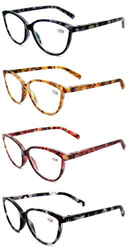 Women's Reading Glasses 4 Pack - Stylish Horn Rimmed Readers for Ladies in 4 Tortoise Shell Colors - +250 - by Optix - Glasses Ladies