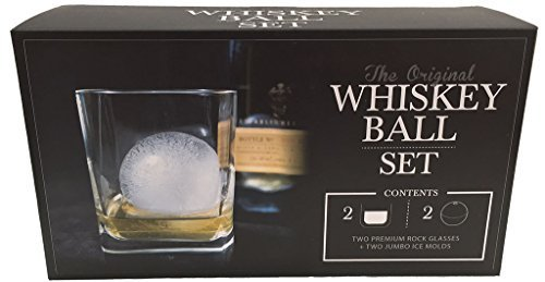 (The Original Whiskey Ball DUO Gift Set (includes 2 round ice molds, 2 premium rock glasses))