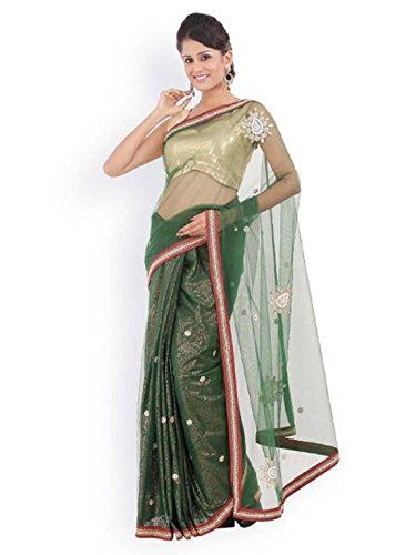 555 Supernet Saree Green Chhabra Nylon Fashion f8qxxZB