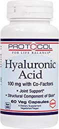 Protocol For Life Balance - Hyaluronic Acid - 100 mg with Co-factors for Joint Support and Skin Hydration - 60 Vcaps