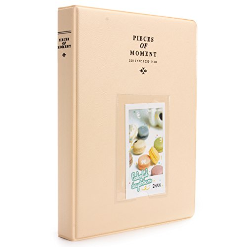 [Fujifilm Instax Mini Photo Album] Woodmin 128 Pockets Photo Album for Fuji Instant Mini 8 8+ Mini 9 70 7s 25 50s 90, Polaroid Z2300, Polaroid PIC-300P 3-inch Film(Ivory) (Party Classic Themes Christmas)