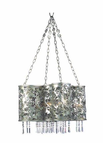 Aged Iron Accents (Kalco 2539SV-C2 Ophelia 8-Light Chandelier, Aged Silver Finish with Firenze Crystal Accent Drops)