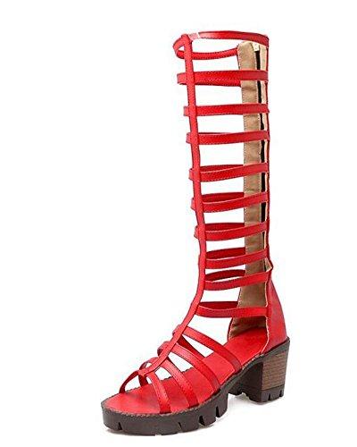 Rosay DONNA Combinazione Tacchi Sandali pattini romana red Di spessi Boot cavità di stile alta qrU8xagqw
