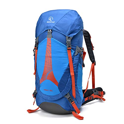 REDCAMP 45L Hiking Backpack Lightweight Internal Frame with Rain Cover, 2.8Lbs High-Performance Waterproof Outdoor Camping Backpack, Red and Blue