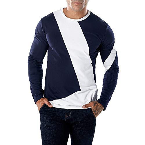 Realdo Long Sleeve T-Shirt for Men, Fashion Casual Slim Splice Color Crewneck Muscle Shirt Top