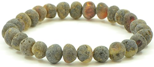 Raw Amber Bracelet for Adults Made on Elastic Band - 7 Inches - Dark Green Color - Baltic Amber Land - Hand-made From Unpolished/Certified Baltic Amber Beads (Dark (Green Amber Beads)