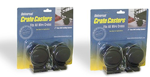MidWest Universal Crate Casters - 4 Total Casters (2 Packs with 2 per Pack)