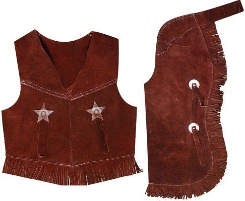 Childrens Western Vest & Chaps Set-black or Brown Suede Leather, S, M or L (Large7-10Brown) for $<!--$41.99-->