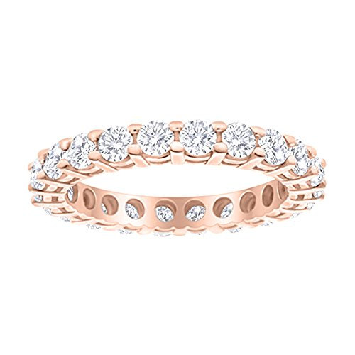(1 Carat (ctw) 14K Rose Gold Round Diamond Ladies Eternity Wedding Anniversary Stackable Ring Band Ultra Premium Collection)