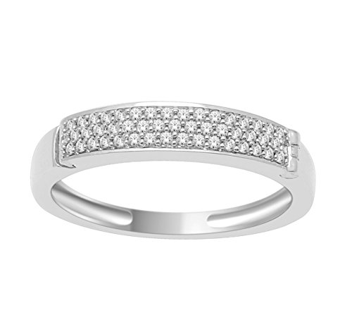 Promise Ring Band For Her 'I Love You' Engraved 0.15ctw Pave Diamonds Gift Ring