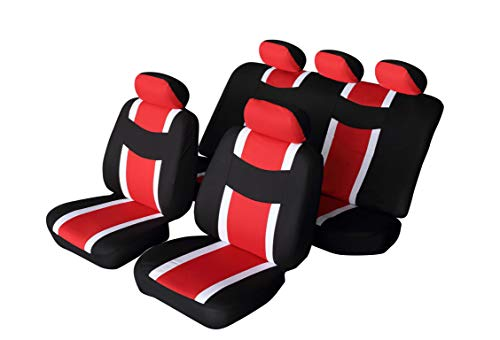 Sport Seat Bucket (Autonise Universal fit Classic Sport Bucket seat Cover (Fit Most Car,Truck, SUV, or Van with headrest) Airbag Compatible (flatcloth red, Full Set))
