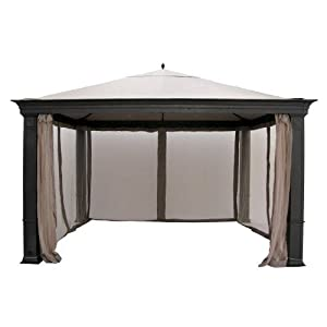 Garden Winds Replacement Canopy Top Cover for Tiverton Series 3 Gazebo – Riplock 350 – Beige