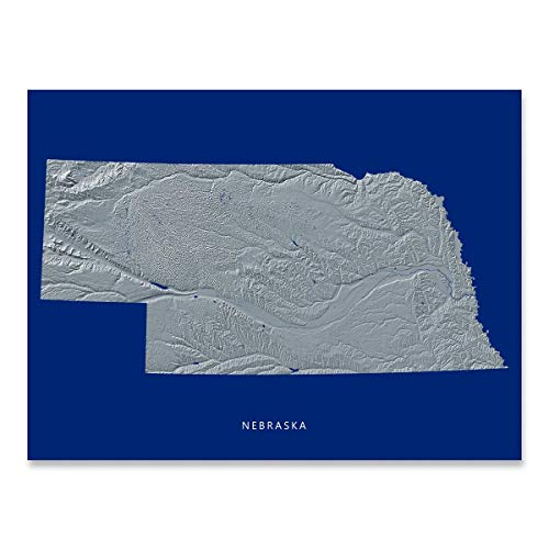 Nebraska State Map Print, NE, Navy Blue, Black and White Landscape Art ()