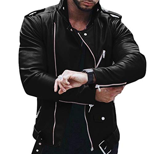 Red Purple Black Fit Zipper Winter a Long Fashion Autumn Black Outwear Coats Biker Pockets Jackets Wine Leather Slim Men Casual Tops Sleeve Jacket with Men's 17OHqBH