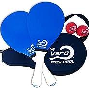 Frescobol Starter Set, 2 Vero Wood Paddles, Premium White Padded Grips, Neoprene Case, 2 Official Red Balls