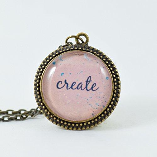 Create Bronze Glass Pendant Necklace