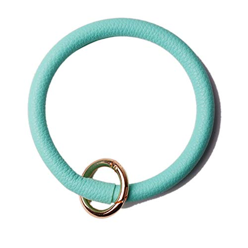 L&N Rainbery PU Leather O Key Chain Circle Tassel Wristlet Keychain for Women Girls (Mint)