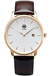 AIBI Men's Watch Analog Quartz Brown Leather Strap Waterproof Watches For Mens 40mm Case With Date