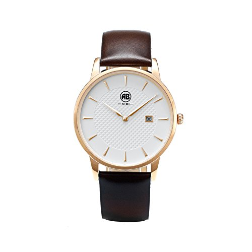 AIBI Men's Brown Leather Strap 3ATM Waterproof Watch 40mm Case With Date Analog Quartz Watch by AIBI