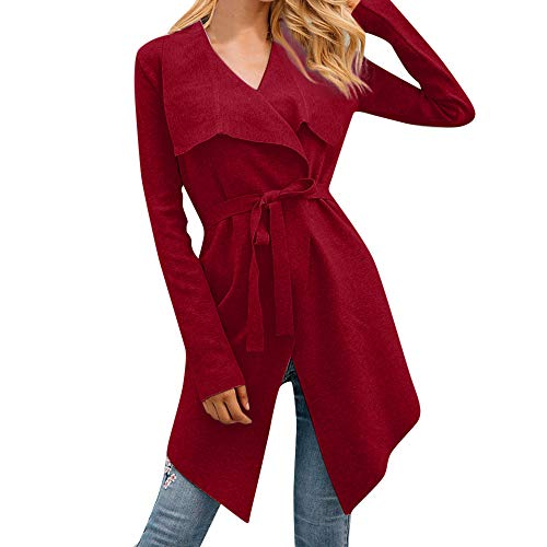 Womens Ladies Belt Casual Long Sleeve Solid Jacket Lapel Neck Loose Coat Red
