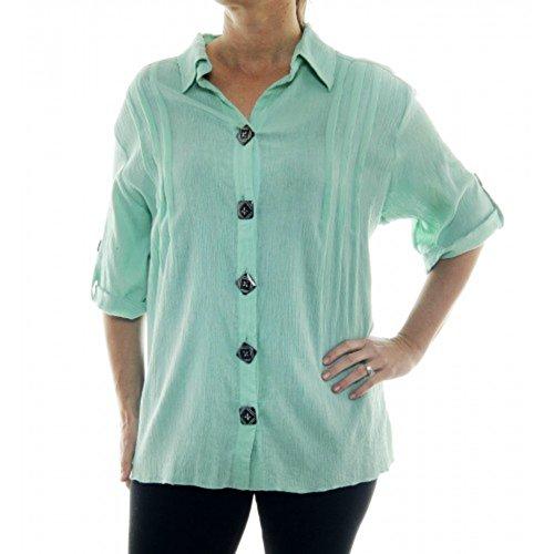 Crinkle Cotton Plus Size We Be Bop ChaiLatte Green Cotton Barbara Top 5X (5X Bust/Hip 74 Length 33)
