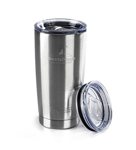 Premium Stainless Steel Coffee Travel Mug 20 Oz Double Wall Insulated Tumbler with BONUS Sliding Lid - Sweat Free, Dishwasher Safe, Snug Fit for Car Cup Holder - Travel Friendly Size